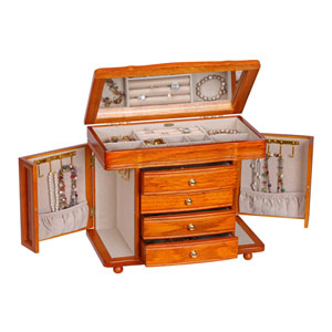 Josephine Jewelry Box with Necklace Doors in Oak