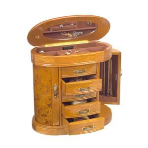 Trinity Jewelry Box in Burlwood Walnut