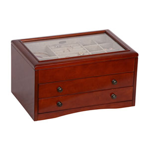 Haywood Glass Top Wooden Jewelry Box in Walnut