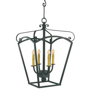 Lantern Bronze Four-Light Chandelier