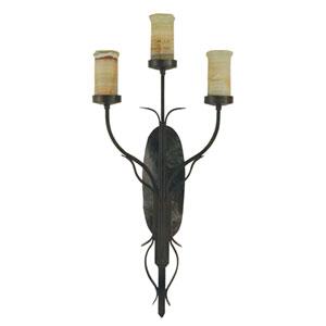 Veneto Bronze Iron and Multi-Color Onyx Three-Light Wall Sconce
