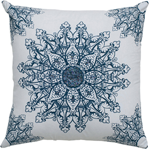White and Navy 18 x 18-Inch Pillow with Hidden Zipper