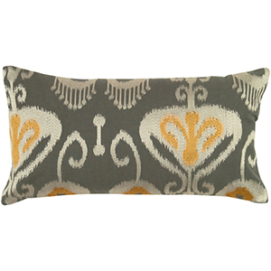 Gray and Yellow 11 x 21-Inch Pillow with Hidden Zipper