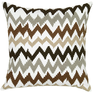 Ivory and Brown 18 x 18-Inch Pillow