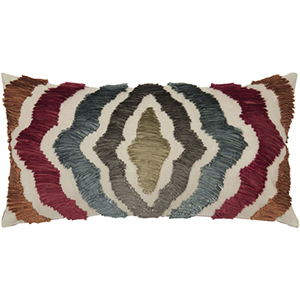 Multi-Colored 11 x 21-Inch Pillow with Hidden Zipper
