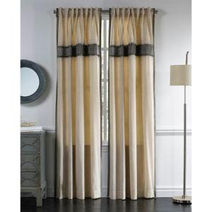 Mia Wheat and Silver 120 x 54-Inch Cotton Curtain Single Panel