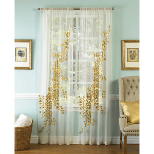 Lhasa Gold and White 108 x 50-Inch Sheer Curtain Single Panel