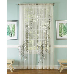 Lhasa Silver and White 96 x 50-Inch Sheer Curtain Single Panel