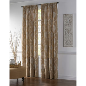 Amora Ivory and Natural 84 x 54-Inch Jute Curtain Single Panel