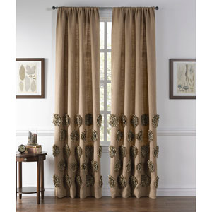 Coimbra Gold and Natural 96 x 54-Inch Jute Curtain Single Panel