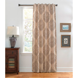 Damask Linen and Light Brown 120 x 54-Inch Natural Linen Curtain Single Panel