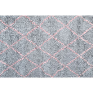 Kids Diamond Pink and Grey Rectangular: 2 Ft 8 In x 4 Ft 8 In Rug