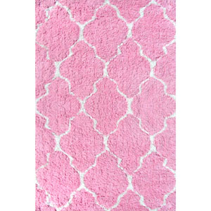 Kids Clouds Pink and White Rectangular: 2 Ft 8 In x 4 Ft 8 In Rug