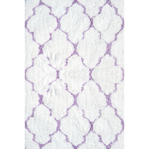 Kids Clouds White and Purple Rectangular: 2 Ft 8 In x 4 Ft 8 In Rug