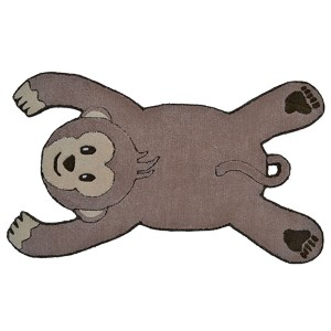 Animal Shapes Brown Monkey Rectangular: 2 Ft. 8 In. x 4 Ft. 8 In. Rug
