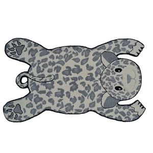 Animal Shapes Ivory and Gray Panther Rectangular: 2 Ft. 8 In. x 4 Ft. 8 In. Rug