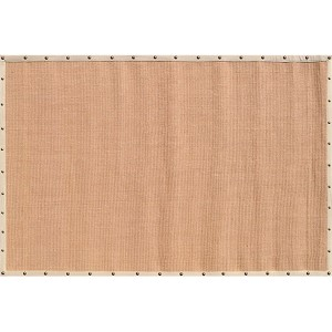 Nailheads Tan and Beige Rectangular: 5 Ft. x 8 Ft. Rug