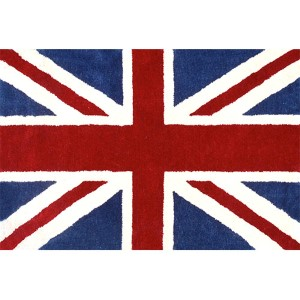 Union Jack Navy and Red Rectangular: 5 Ft. x 8 Ft. Rug