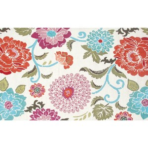 Floral Red and White Rectangular: 5 Ft. x 7 Ft. 6 In. Rug