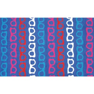 Whimsical Blue and Red Rectangular: 5 Ft. x 7 Ft. 6 In. Rug