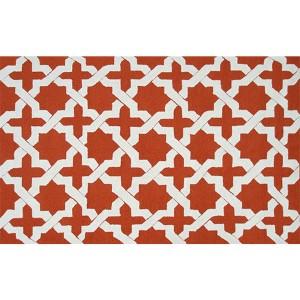 Ethnic Orange and White Rectangular: 5 Ft. x 7 Ft. 6 In. Rug
