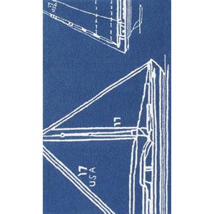 Resort Sail Away Blue and White Rectangular: 5 Ft x 8 Ft Rug