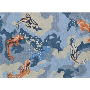 Carpio Blue and Coral Rectangular: 5 Ft. x 8 Ft. Rug