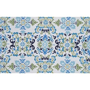 Floral Seriano White and Blue Rectangular: 5 Ft. x 8 Ft. Rug