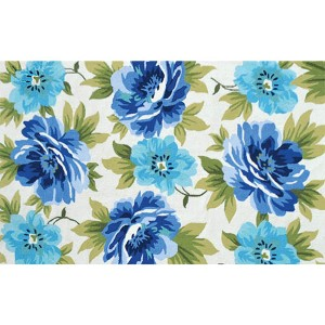 Floral Caeruleus White and Blue Rectangular: 5 Ft. x 8 Ft. Rug