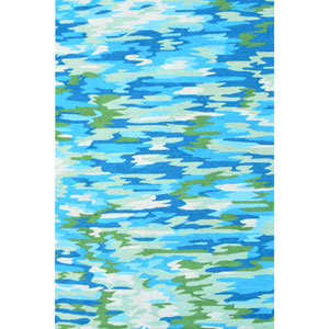 Resort Camouflage Blue and Green Rectangular: 5 Ft x 8 Ft Rug