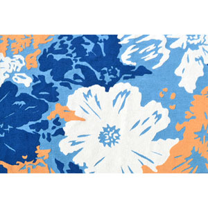 Resort Hibiscus Blue and White Rectangular: 5 Ft x 8 Ft Rug