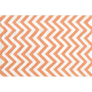 Chevron Tangerine and White Rectangular: 5 Ft. x 7 Ft. 6 In. Rug