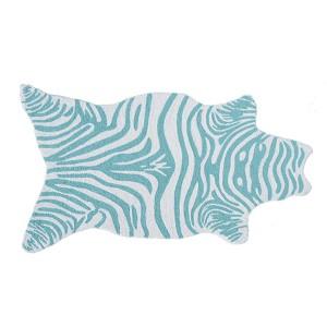 Mini Zebra Teal and White Rectangular: 2 Ft. 8 In. x 4 Ft. 8 In. Rug