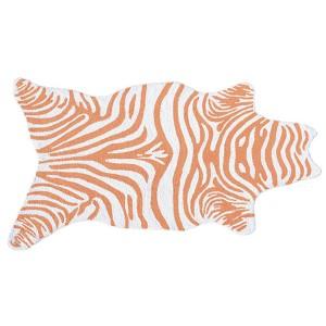 Mini Zebra Tangerine and White Rectangular: 2 Ft. 8 In. x 4 Ft. 8 In. Rug