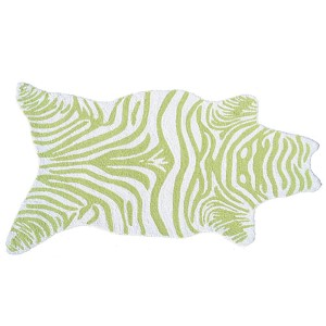 Mini Zebra Lime and White Rectangular: 2 Ft. 8 In. x 4 Ft. 8 In. Rug