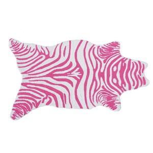 Mini Zebra Pink and White Rectangular: 2 Ft. 8 In. x 4 Ft. 8 In. Rug