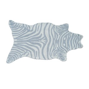 Mini Zebra Gray and White Rectangular: 2 Ft. 8 In. x 4 Ft. 8 In. Rug