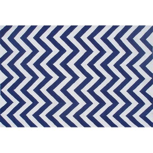 Chevron Blue and White Rectangular: 5 Ft. x 7 Ft. 6 In. Rug