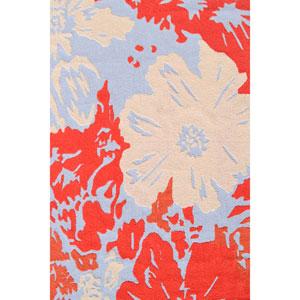 Resort Hibiscus Grey and Orange Rectangular: 5 Ft x 8 Ft Rug