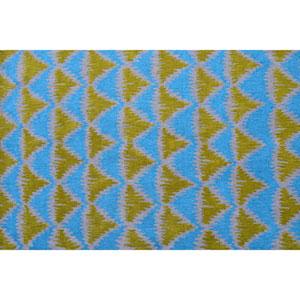 Resort Tropic Pyramid 1 Green and Blue Rectangular: 5 Ft x 8 Ft Rug