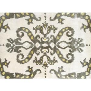 Ethnic Cream and Gray Rectangular: 5 Ft. x 8 Ft. Rug