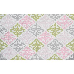 Damask Pink and Green Rectangular: 4 Ft. 7 In. x 7 Ft. 7 In. Rug
