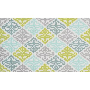 Damask Blue and Green Rectangular: 2 Ft. 8 In. x 4 Ft. 8 In. Rug