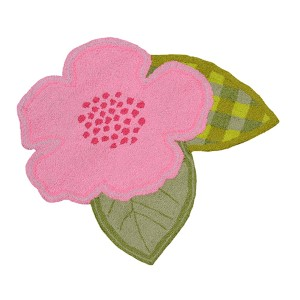 Floral Green and Pink Round: 2 Ft. 6 In. x 2 Ft. 6 In. Rug
