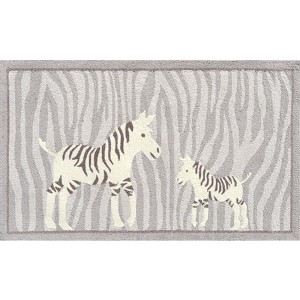 Animal Gray and White Rectangular: 2 Ft. 8 In. x 4 Ft. 8 In. Rug