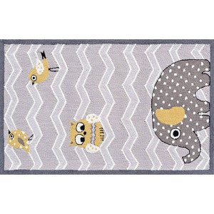 Animal Yellow and Gray Rectangular: 2 Ft. 8 In. x 4 Ft. 8 In. Rug