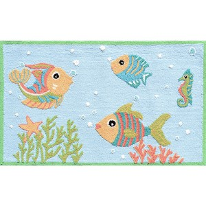 Aquatic Blue and Red Rectangular: 2 Ft. 8 In. x 4 Ft. 8 In. Rug