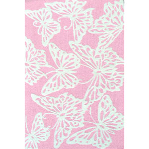 Kids Butterfly Pink and White Rectangular: 2 Ft 8 In x 4 Ft 8 In Rug