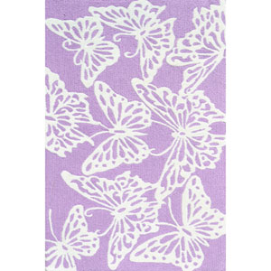 Kids Butterfly Lavender and White Rectangular: 2 Ft 8 In x 4 Ft 8 In Rug