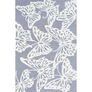 Kids Butterfly Grey and White Rectangular: 2 Ft 8 In x 4 Ft 8 In Rug
